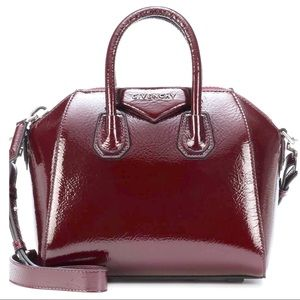 Givenchy Antigona Creased Leather Patent Aubergine